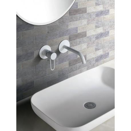 Grifería empotrada lavabo serie MILAN blanco mate-ambiente