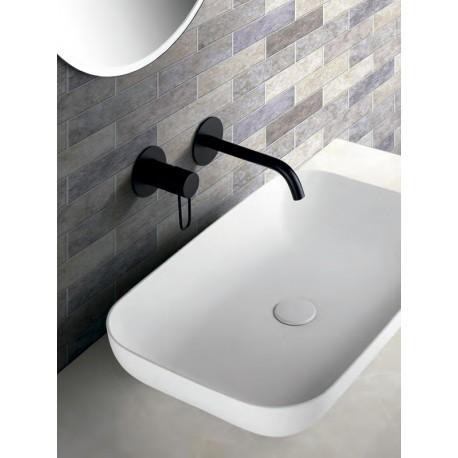 Grifería empotrada lavabo serie MILAN negro mate-ambiente