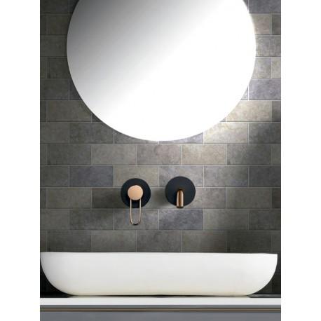 Grifería empotrada lavabo serie MILAN negro mate y oro rosa-ambiente